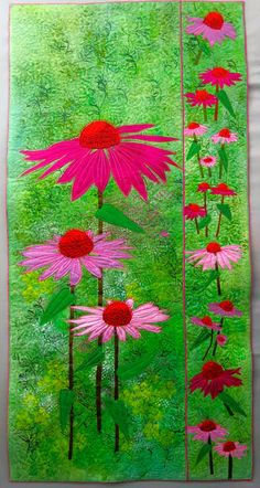 International threads quilt  Gillian Travis  beautiful brightly colored quilt with echinacea inspired by trip to France