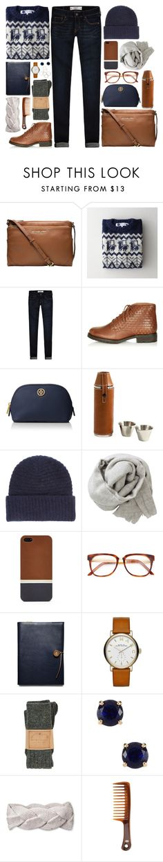 """Home for the Holidays 2015"" by grapecar1015 ❤ liked on Polyvore featuring MICHAEL Michael Kors, Industry Of All Nations, Abercrombie & Fitch, Topshop, Tory Burch, Acne Studios, Brunello Cucinelli, FOSSIL, Wood Wood and Coach"