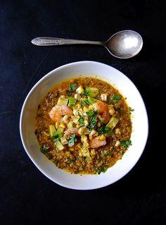 Cilantro & Quinoa Soup by alainasullivan #Soup #Quinoa #Shrimp #Avocado #Corn #Garlic #Coriander #Cilantro