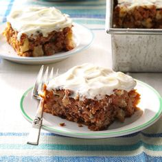 Gran's Apple Cake Recipe -My grandmother occasionally brought over this wonderful cake warm from the oven. The spicy apple flavor combined with the sweet cream cheese frosting made this dessert a treasured recipe. Even though I've lightened it up, it's still a family favorite. —Lauris Conrad, Turlock, California