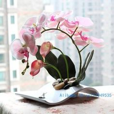 flower arrangement ikebana arranged artificial Butterfly Moth Orchid silk Flower include vase Home Decoration FV25-in Decorative Flowers & W...