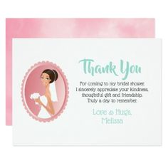 Bride in a Veil with Bouquet Bridal Shower Thanks Card - girl gifts special unique diy gift idea