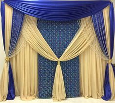 This backdrops could be straight outa a Disney Princess wedding Wedding Backdrop Design, Wedding Reception Backdrop, Ceremony Backdrop, Wedding Arbors, Head Table Wedding, Pipe And Drape, Fabric Backdrop, Indian Wedding Decorations, Rustic Wedding Decorations