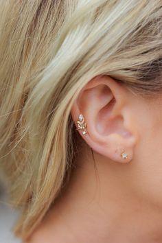 online store f0753 1067e Stuck On You Ear Cuff Pendientes Con La Cruz, Diamante De Imitación De Oro,
