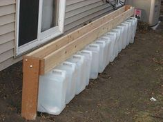 "Gutterless Rain Barrel - a ""Drain Barrel""  An excellent way to collect water away from buildings with gutters. I would use this design, yet replace the wood with an actual metal eave"