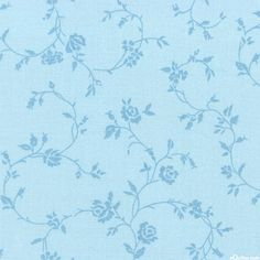 """Delicate Climbing Rose - Powder Blue - 108"""" QUILT BACKING"""