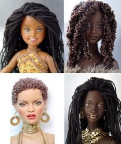 dolls with locs and a short fro. i want these for my future daughters.