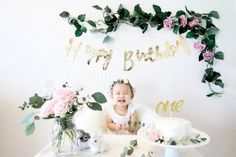 Pink and Gold First Birthday Cake Smash Party | Botanical Birthday Party