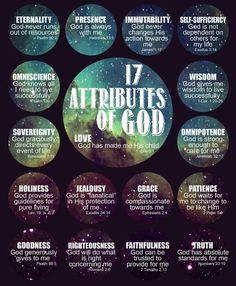 17 Attributes of God  ~~I Love Jesus Christ Christian Quotes.