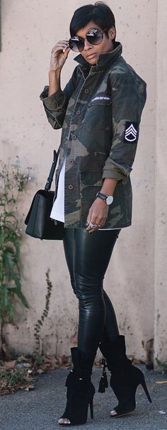 Kyrzayda Camo Jacket On Black Faux Leggings Fall Street Style Inspo #Fashionistas