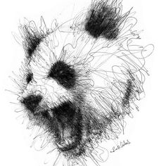 We'll bring wonderful pen stroke drawings by Italian Artist Erick Centeno forward to you. These sketches are truly remarkable. Art in any form is art that Animal Sketches, Art Drawings Sketches, Animal Drawings, Stylo Art, Panda Drawing, Scribble Art, Panda Art, Arte Sketchbook, Realistic Drawings