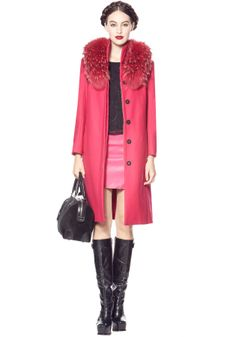 MOSS LONG MEN TAILORED COAT WITH FUR | Alice + Olivia |