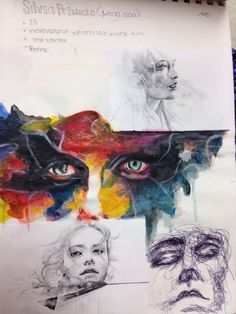 Drawing Artist Research based on artist Agnes Cecile sketchbook investigation by Maria Diaz