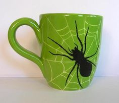 Halloween goodies (avoid this post if you cant stand spiders) - POTTERY, CERAMICS, POLYMER CLAY - the perfect mug for Halloween im really pleased with how this turned out (even my o/h was impressed ) this was painted with underglaze onto premade b Table Halloween, Halloween Eve, Halloween Painting, Holidays Halloween, Halloween Crafts, Halloween Decorations, Halloween Kitchen, Pottery Painting, Ceramic Painting