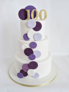 I wanted to make her cake fun but elegant and incorporated fondant paper rosettes because I love how festive they look. The different shades of purple were to match the hundreds of balloons that were part of the venue décor. Pretty Cakes, Beautiful Cakes, Amazing Cakes, Birthday Cake For Father, Birthday Cakes, 4th Birthday, Cupcake Pictures, Fondant Baby, Cake Central