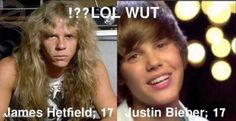 A humorous image showing the lead singer of Metallica, James Hetfield, and Justin Bieber both at the age of 17.