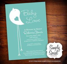 Little Bird Baby Shower Invitation Tiffany by SimplySocialDesigns, $18.00