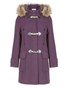 Heavyweight Faux Fur Hooded Duffle Coat with Wool | M&S