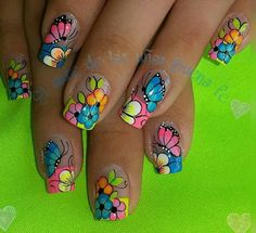 Butterfly Nail Designs, Butterfly Nail Art, Flower Nail Art, Fingernail Designs, Diy Nail Designs, May Nails, Hair And Nails, Spring Nails, Summer Nails