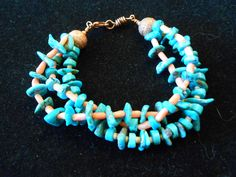 Turquoise Pink Coral and copper  bracelet by CRoanCollections, $30.00