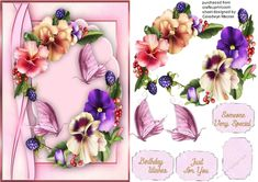 A Lovely card with Beautiful Pansy's and butterfly's has three greeting tags and a blank one