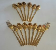 Viners of Sheffield Electroplate Gold Cane Bamboo Spoons Forks Cutlery VS Lot Passover Meal, Hollywood Regency, Mid Century Design, Sheffield, Forks, Wonderful Things, Spoons, Cutlery, Gifts For Mom