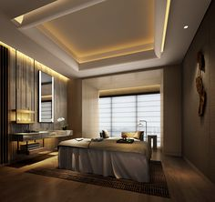 Incorporate spa like feel/features for Master bathroom Massage Therapy Rooms, Massage Room, Spa Massage, Spa Interior Design, Spa Design, Spa Treatment Room, Spa Lighting, Bedroom False Ceiling Design, Bathroom Spa