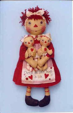 Primitive raggedy Ann doll pattern little raggedies.    Crftyg