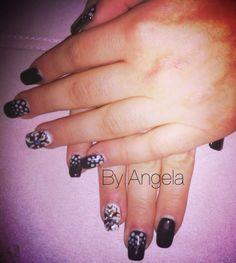 #black #white #dots #handmade #snowflake #christmas #nail #art