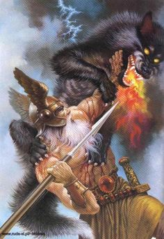 #Odin with his spear Gungnir at #Ragnarok before he is killed! #asatru…