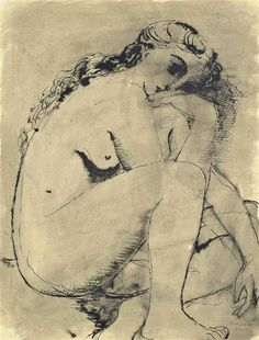'Jeune femme nue' (1945) by Belgian painter Paul Delvaux (1897-1994). Pen and ink and wash on paper, 14.25 x 10.875 in.