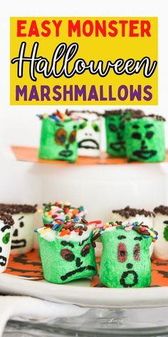 Fun Halloween treats. Easy monster treats. How to make a fun Halloween dessert for kids. Fun Halloween Treats, Halloween Desserts, Monster Treats, Marshmallow, Breakfast, Easy, Kids, Food, Morning Coffee