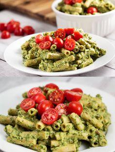 Avocado Cream Pasta with Herbs via veggiechick.com #vegan #vegetarian #pasta