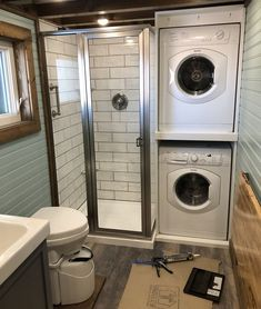 Stacked Washer And Dryer And Small Shower 2nd Bathroom