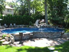 Sloped Yard, Sloped Backyard, Backyard Pool Landscaping, Backyard Pool Designs, Small Backyard Patio, Swimming Pools Backyard, Oasis Backyard, Outdoor Pool, Design Cour