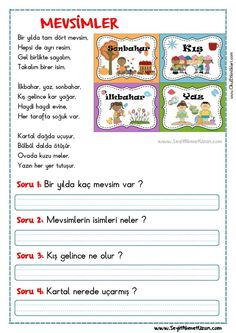 First Grade, Grade 1, Learn Turkish Language, Stories For Kids, Worksheets, Texts, Preschool, Math, Learning