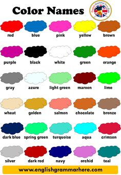 Color Name List, List Of Colors - English Grammar Here Learning English For Kids, Teaching English Grammar, English Worksheets For Kids, English Lessons For Kids, English Writing Skills, English Activities, English Vocabulary Words, English Language Learning, Vocabulary List