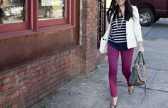 purple pants with striped top I Love Fashion, Work Fashion, Fashion Beauty, Fashion Outfits, Fashion Fashion, Casual Outfits, Fall Winter Outfits, Autumn Winter Fashion, Winter Style