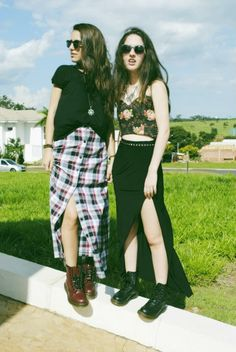 Long plaid skirts have a grunge feel x