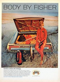 """Rare """"Body by Fisher"""" GM ad. This one shows the 1968 Bonneville. Remember opening the door or getting out and seeing the silver ribbed metal scuff plate with the """"Body by Fisher"""" carriage logo on the black logo?"""