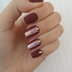 77 newest burgundy nails designs you should definitely try in 2020 3 Burgundy Nail Designs, Burgundy Nails, Orange Nails, Red Nails, Hair And Nails, Fancy Nails, Love Nails, Pretty Nails, Lines On Nails