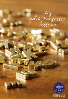 "DIY - Gold Magnet Letters using plastic letters with Rust-oleum's Plastic Primer + Rust-oleum's American Accents Bright Metallics ""Gold""Spray Paint - Full Tutorial"