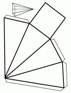 La Pirámide base cuadrada; Cuerpos Geométricos.recortable figuras geometricas bidimensionales