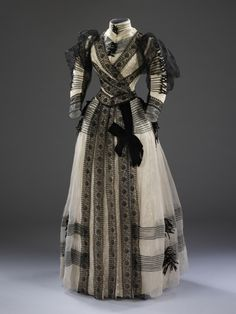 Half-mourning dress, by Sara Mayer & A. Morhanger, 1889-92. © Victoria and Albert Museum, London. See: http://collections.vam.ac.uk/item/O135455/dress-sara-mayer-a/