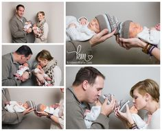 newborn twin boys with parents. Nice poses just not the business of the outfits.