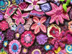 50 years of flower power - a freeform crochet and knit artwork: a few more work-in-progress photos