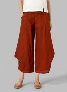 Linen Flared Leg Crop Pants