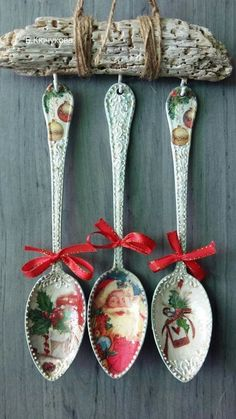 1 million+ Stunning Free Images to Use A. Decoupage Vintage, Decoupage Art, Diy Christmas Decorations Easy, Christmas Craft Projects, Holiday Crafts, Spoon Ornaments, Xmas Ornaments, Handmade Christmas, Christmas Crafts