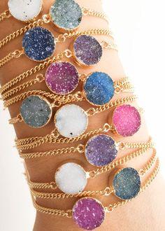 Noelani bracelet - gold druzy bracelet, gold bracelet, druzy, chain bracelet, druzy jewelry, boho jewelry, bohemian style, hawaii jewelry