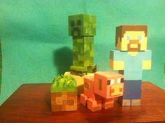 Minecraft inspired wooden peg doll cake topper toys on Etsy, $34.00